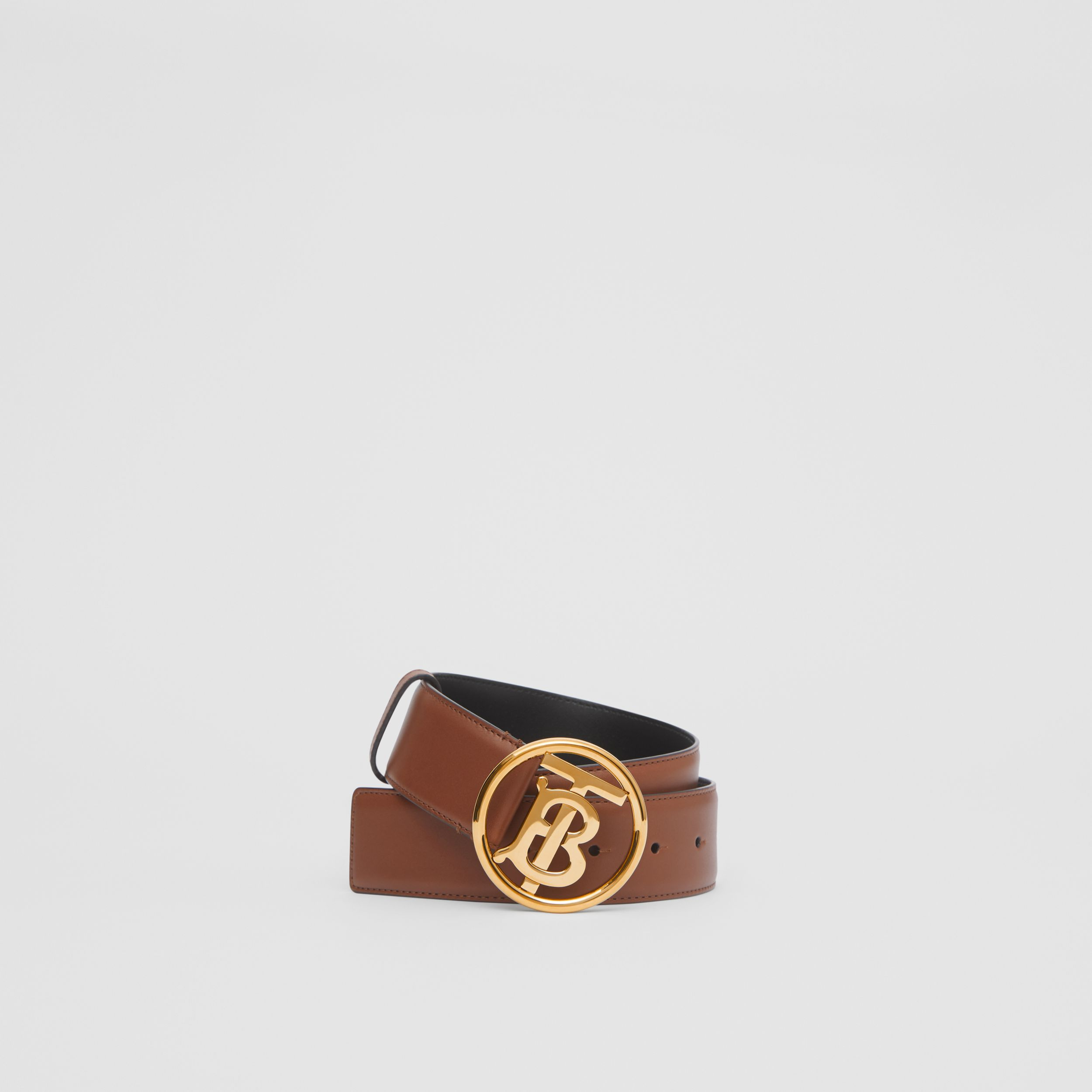 Monogram Motif Leather Belt in Tan/antique Dark Brass | Burberry - 1