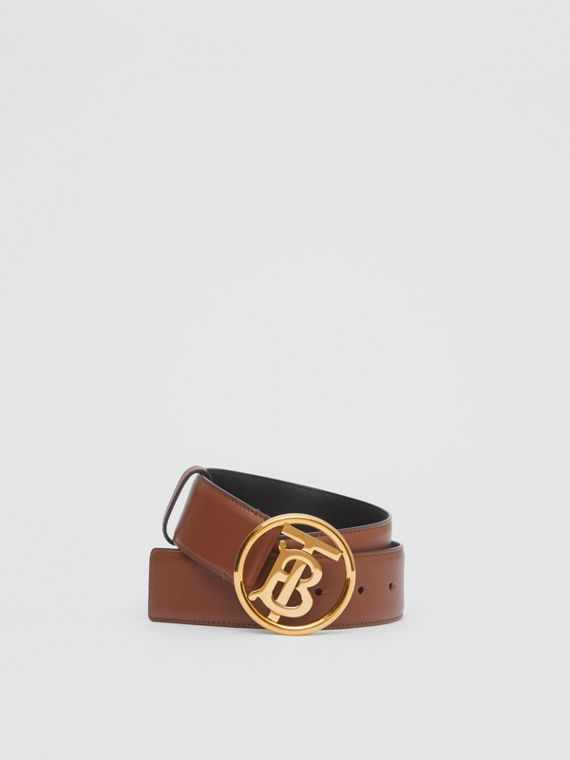 Monogram Motif Leather Belt in Tan/antique Dark Brass