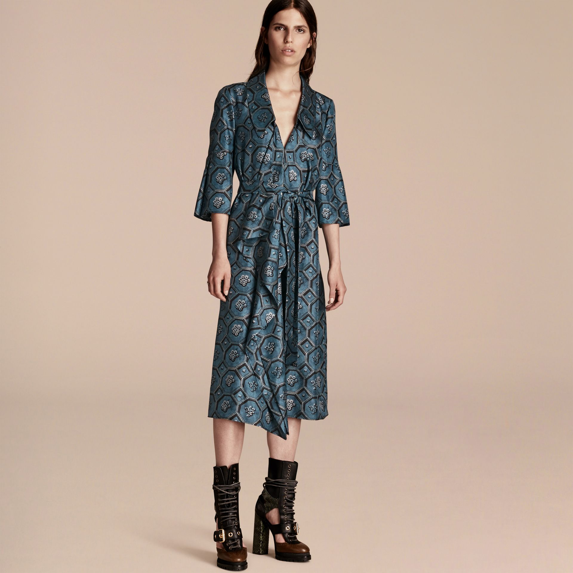 Dark mineral blue Wallpaper Print Silk Twill Wrap Trench Dress - gallery image 6