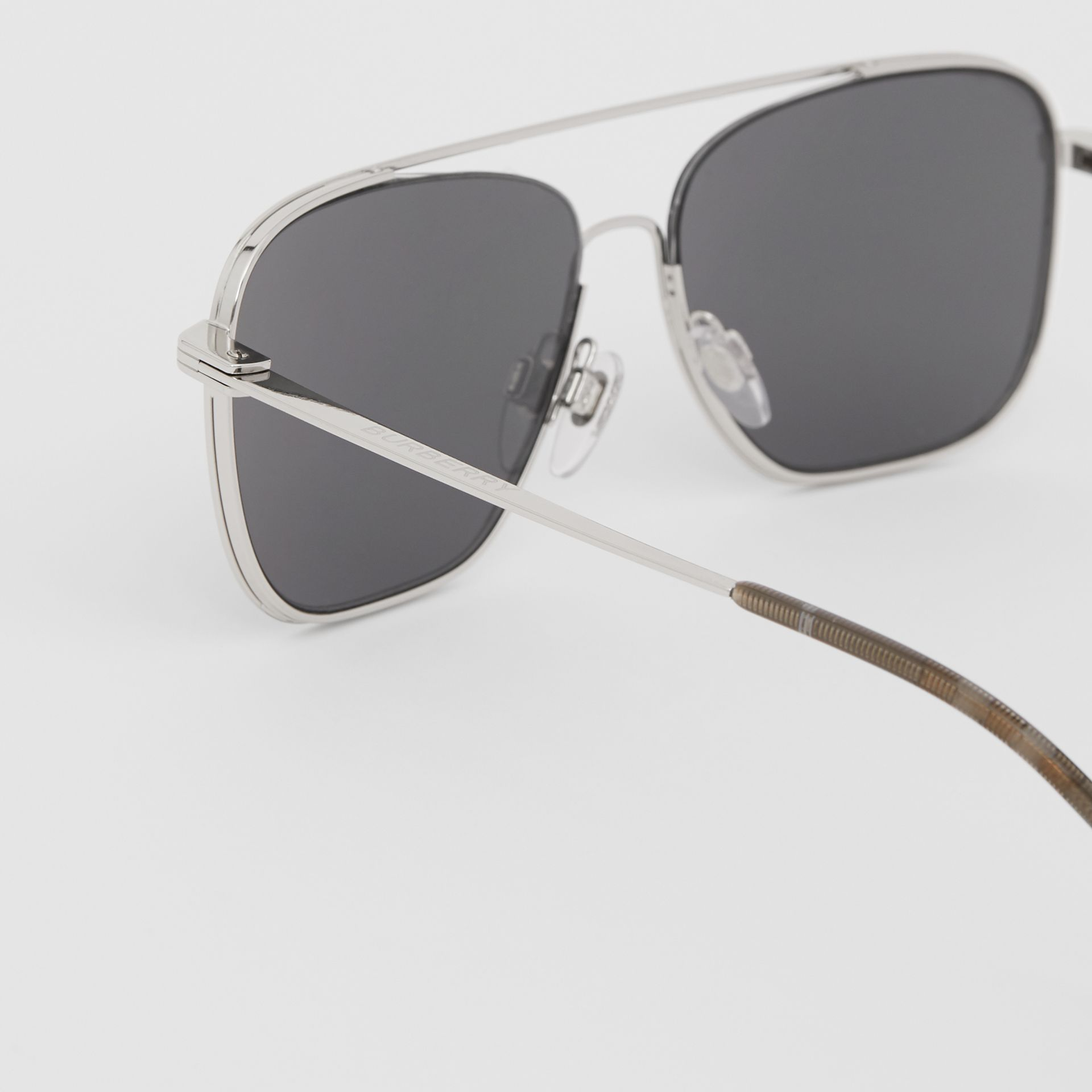 Top Bar Detail Square Frame Sunglasses in Gunmetal Grey | Burberry - gallery image 1