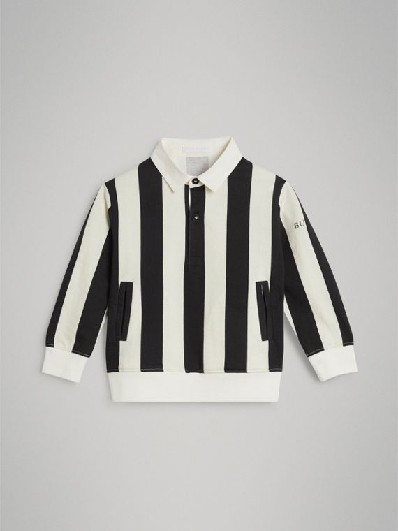 Striped Cotton Jersey Rugby Shirt in Black
