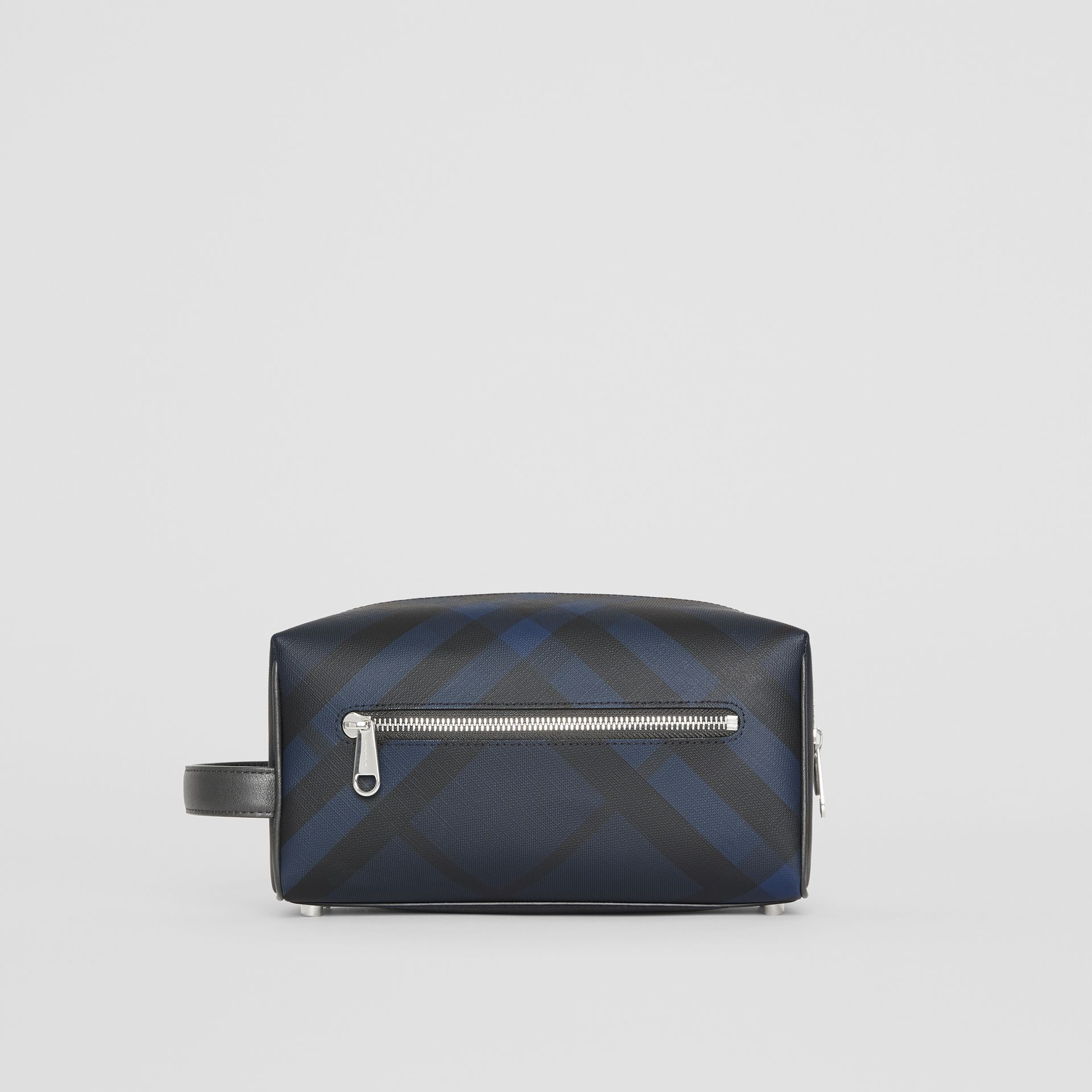 London Check and Leather Pouch in Navy/black - Men | Burberry Canada - gallery image 7