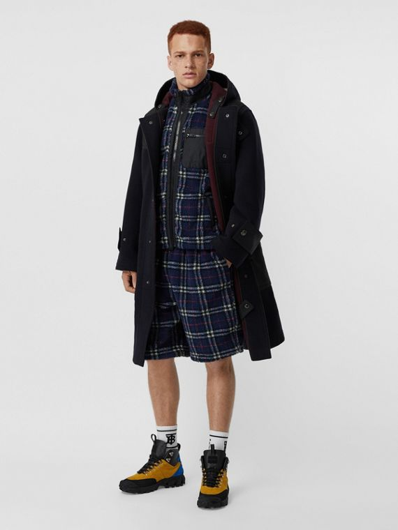 Double-faced Wool Blend Duffle Coat in Navy/burgundy