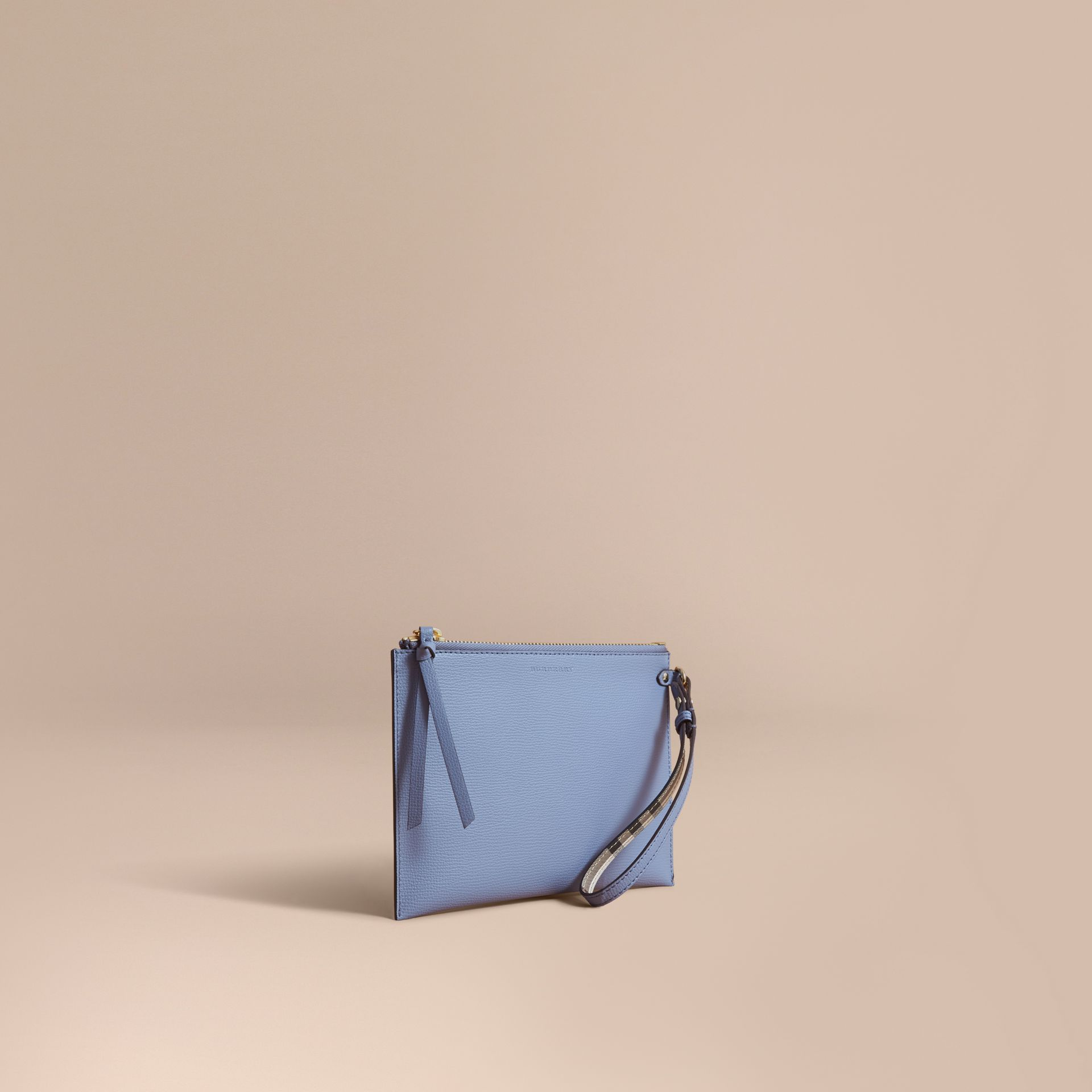 Haymarket Check and Leather Pouch in Slate Blue - Women | Burberry Australia - gallery image 1