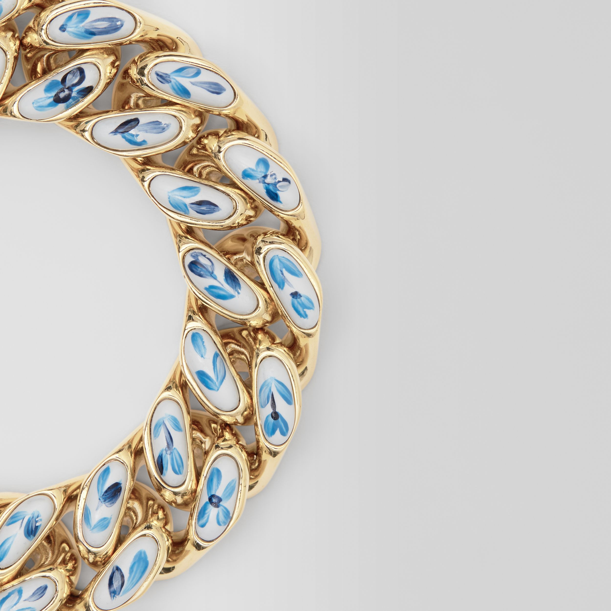Enamel Detail Gold-plated Chain-link Bracelet in Light Gold/white/blue | Burberry - 2