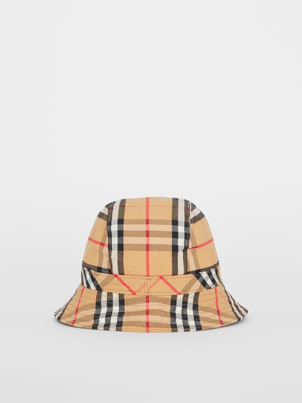 Vintage Check Cotton Bucket Hat in Antique Yellow - Women | Burberry - cell image 2