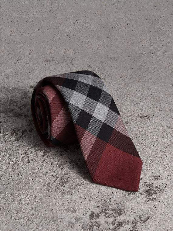 現代剪裁格紋棉質喀什米爾領帶 (洋紅色)