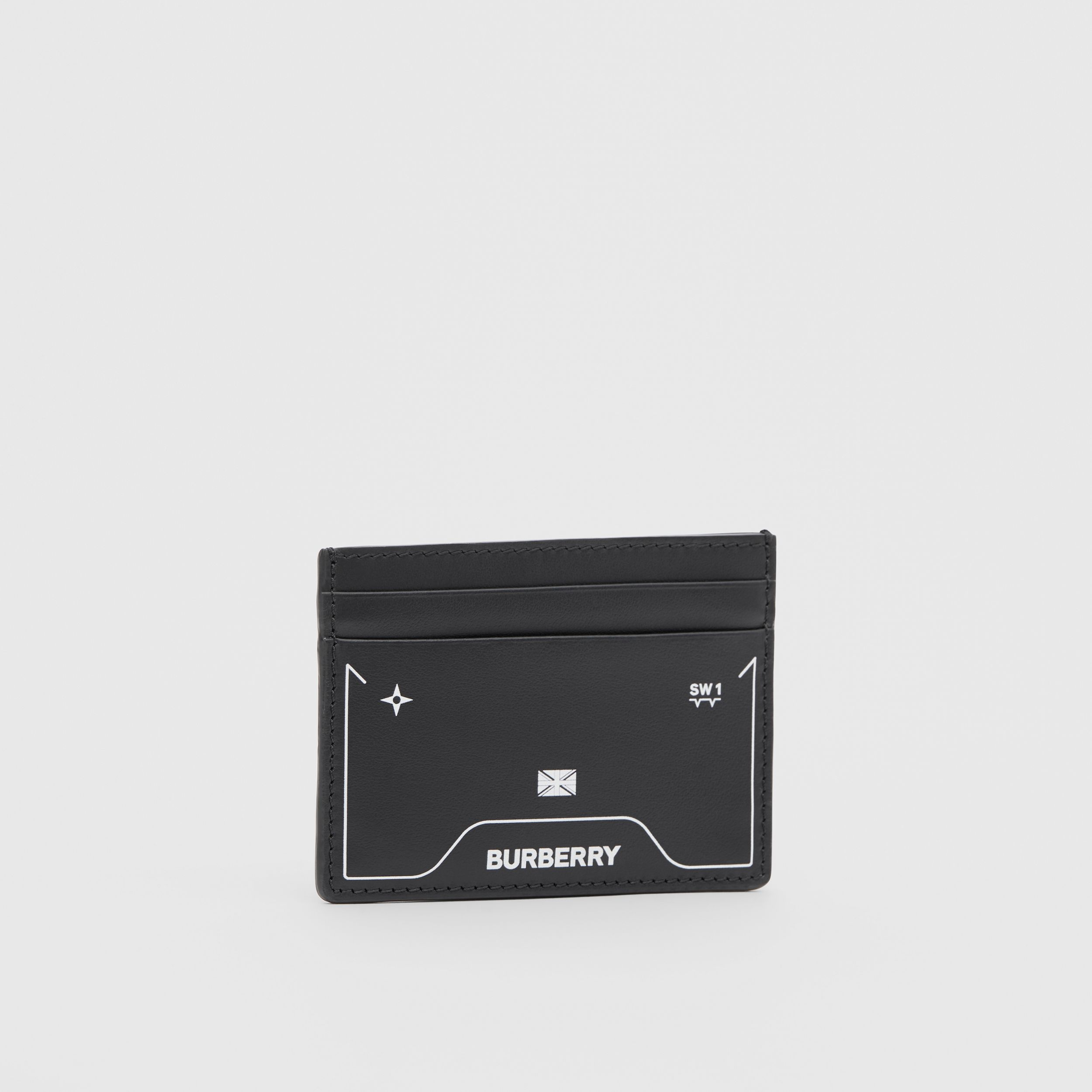 Symbol Print Leather Card Case in Black - Men | Burberry - 4