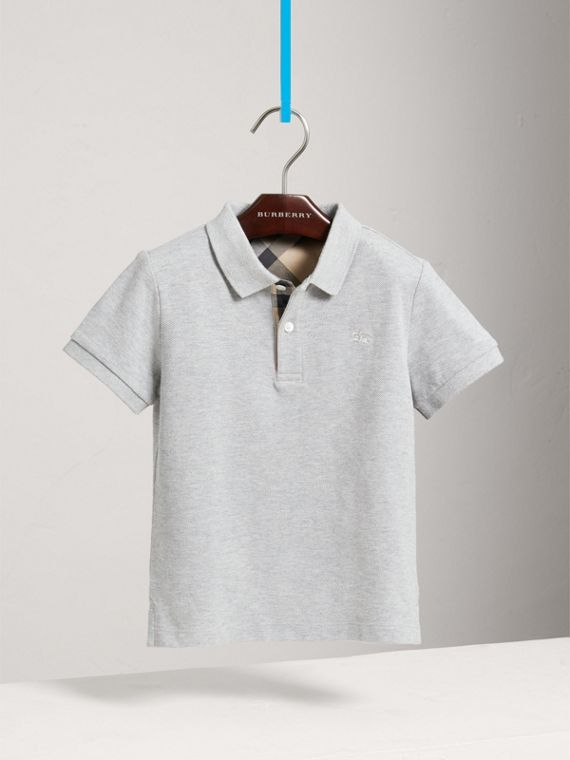 Check Placket Polo Shirt in Pale Grey Melange - Boy | Burberry United States - cell image 2