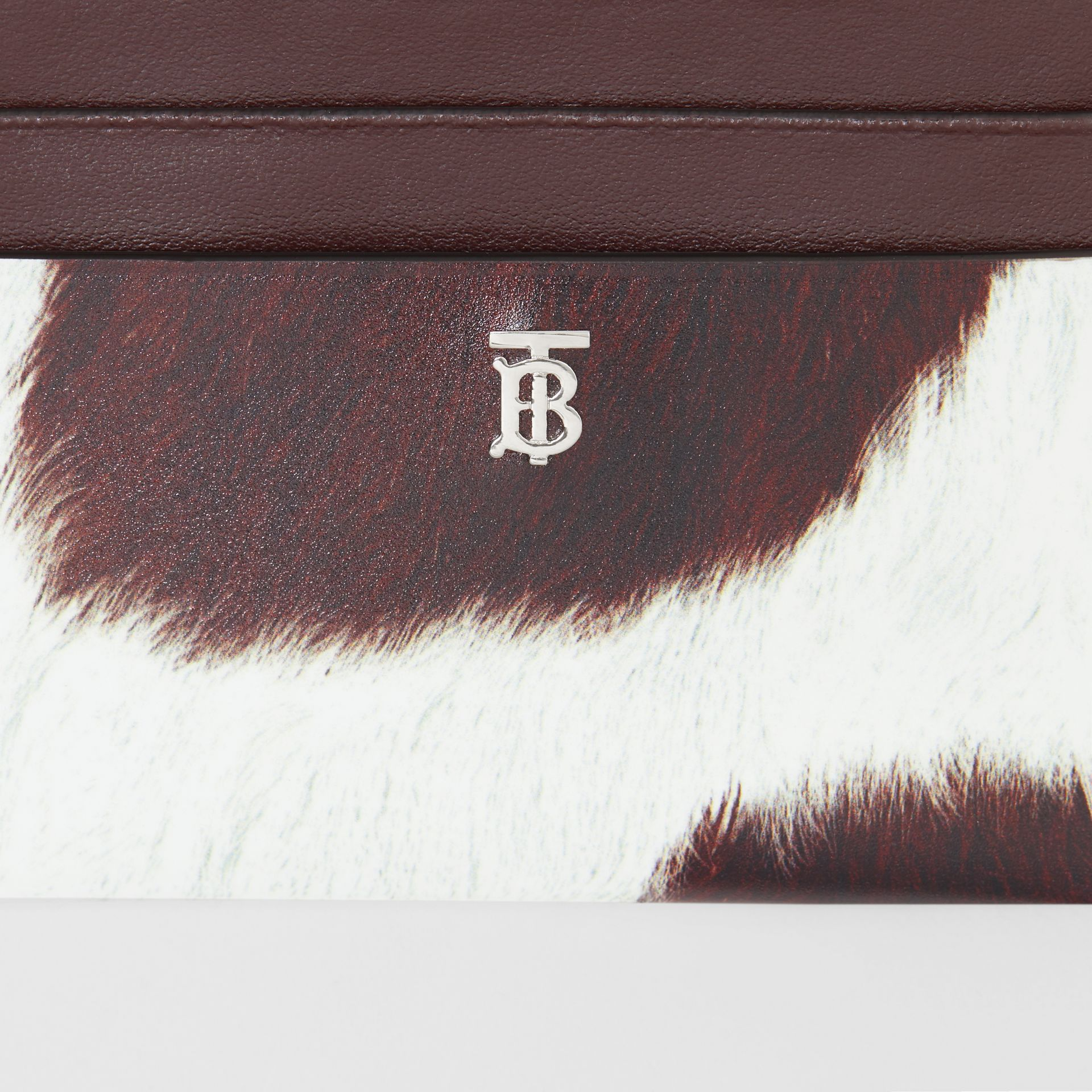 Cow Print Leather Zip Card Case in Mahogany - Women | Burberry - gallery image 1