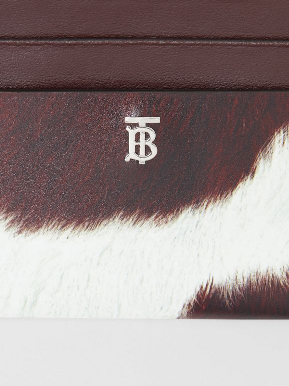 Cow Print Leather Zip Card Case in Mahogany - Women | Burberry Hong Kong - cell image 1