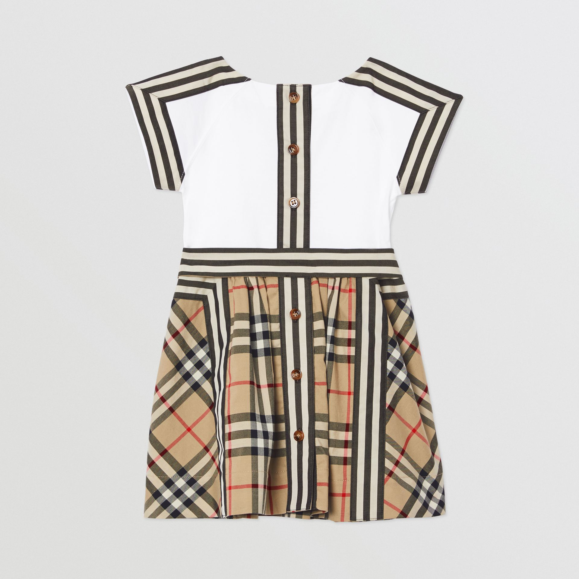 Vintage Check Detail Cotton Dress in Archive Beige - Children | Burberry United Kingdom - gallery image 3