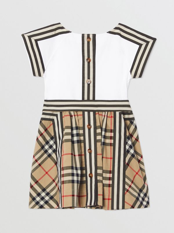 Vintage Check Detail Cotton Dress in Archive Beige - Children | Burberry United Kingdom - cell image 3