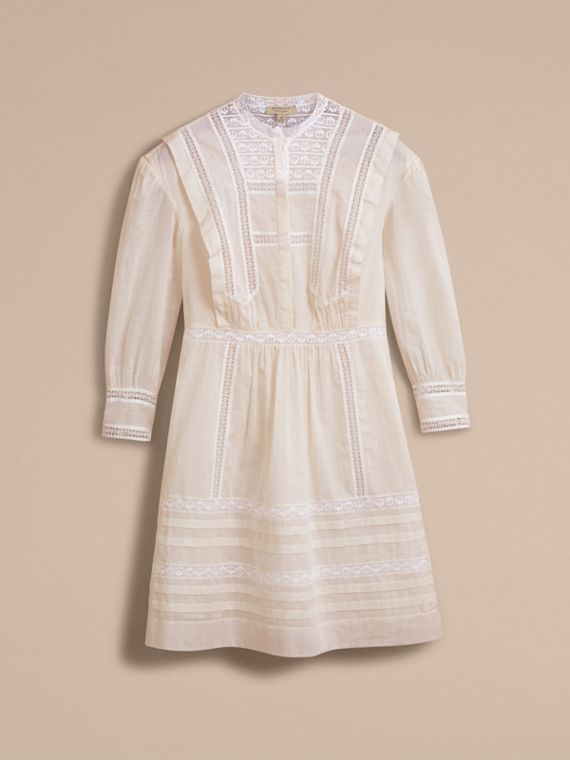 Lace Detail Cotton Voile Dress in Natural White - Women | Burberry - cell image 3