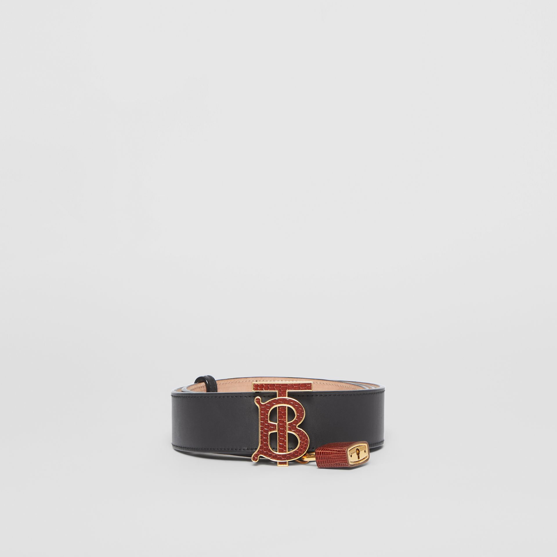 Padlock Detail Monogram Motif Leather Belt in Black/tan - Women | Burberry Singapore - gallery image 3