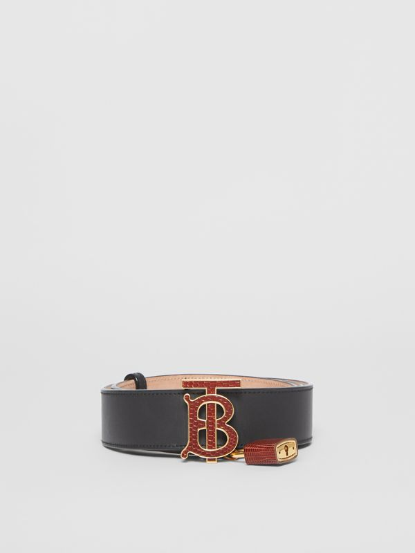 Padlock Detail Monogram Motif Leather Belt in Black/tan - Women | Burberry Singapore - cell image 3