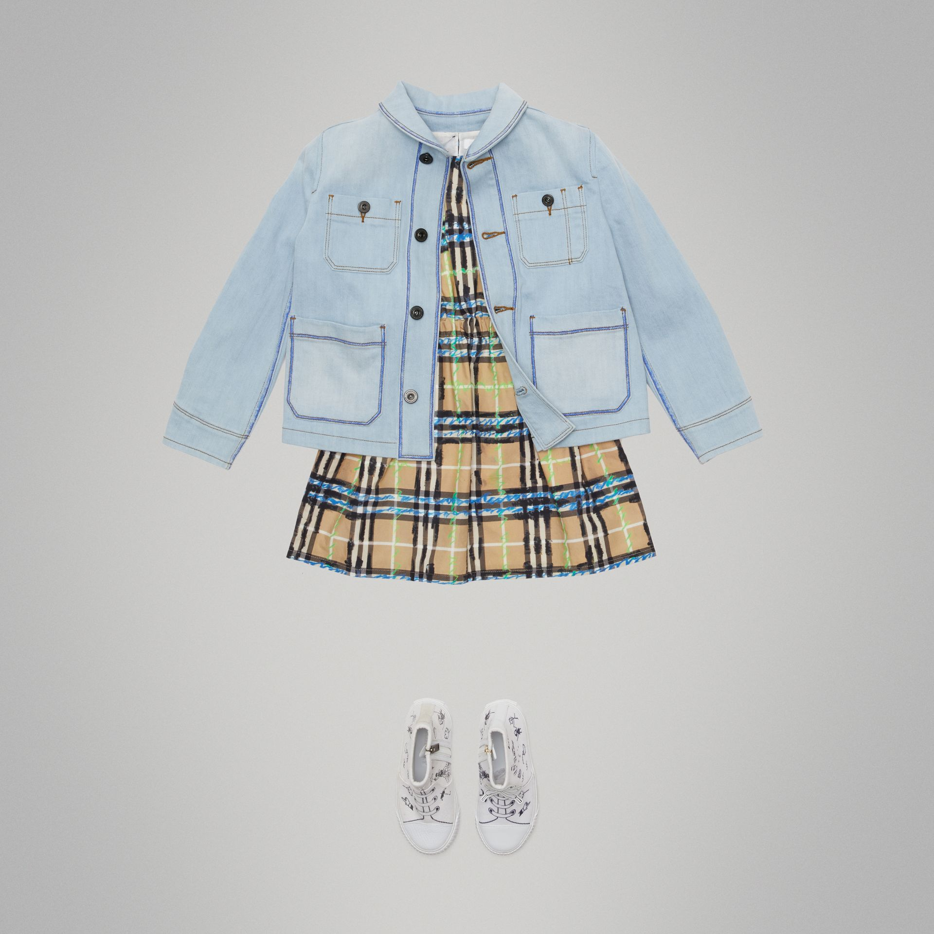 Marker Pen Print Denim Jacket in Light Blue - Girl | Burberry - gallery image 2