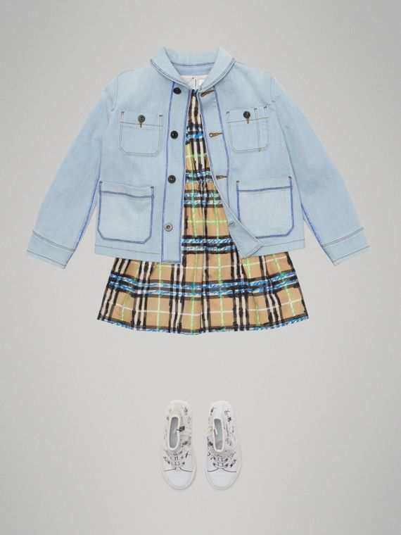 Marker Pen Print Denim Jacket in Light Blue - Girl | Burberry - cell image 2