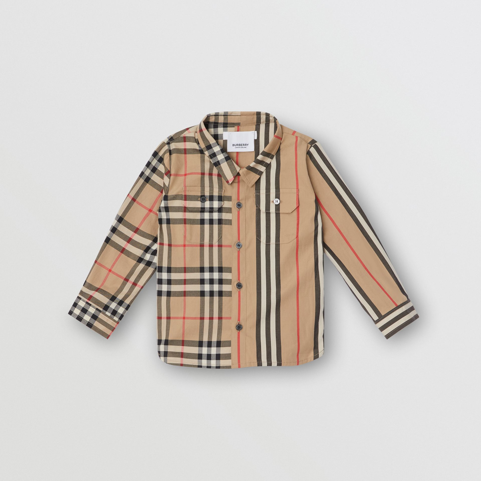 Panelled Vintage Check and Icon Stripe Cotton Shirt in Archive Beige - Children | Burberry United Kingdom - gallery image 0