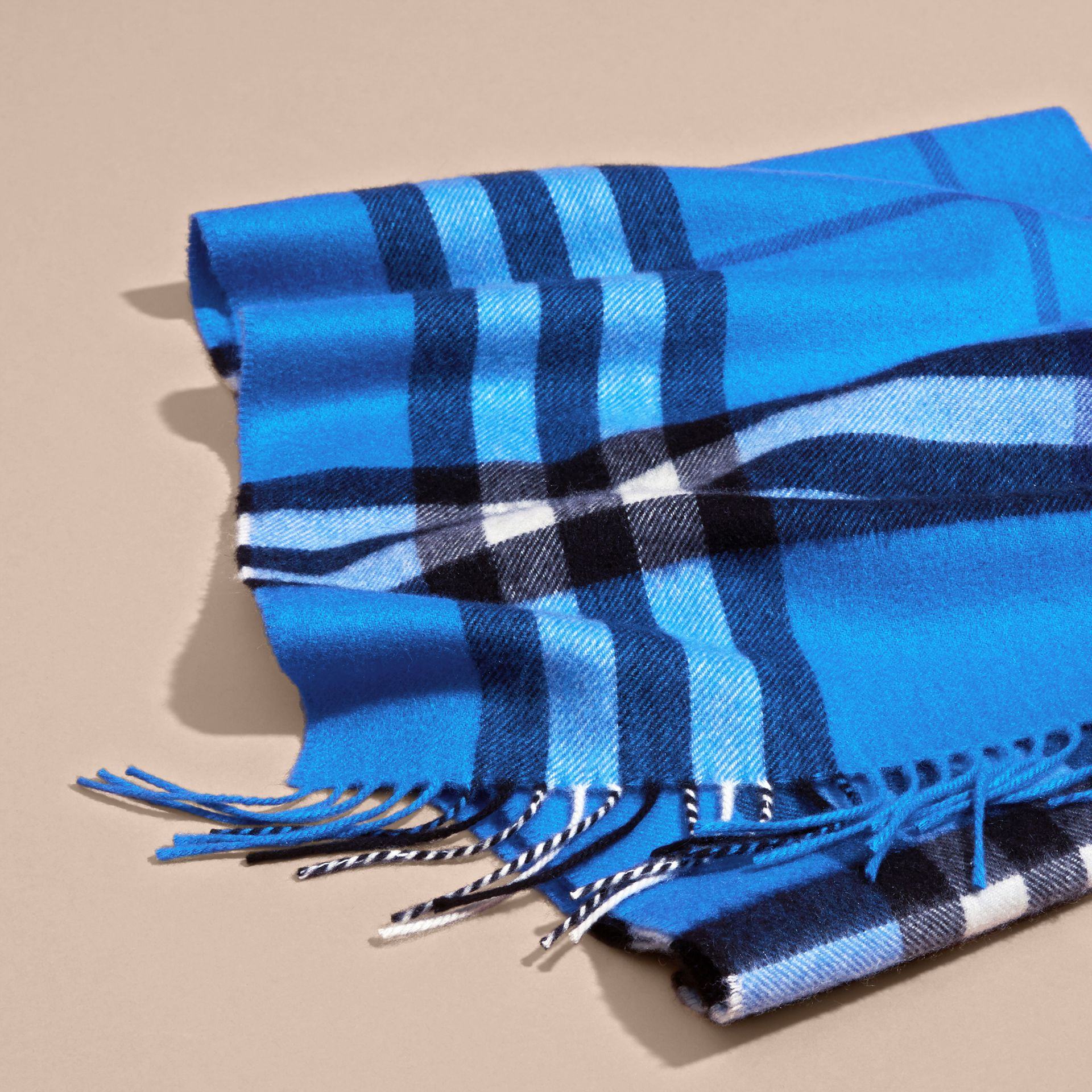 The Classic Cashmere Scarf in Check  Bright Cornflower Blue - gallery image 5