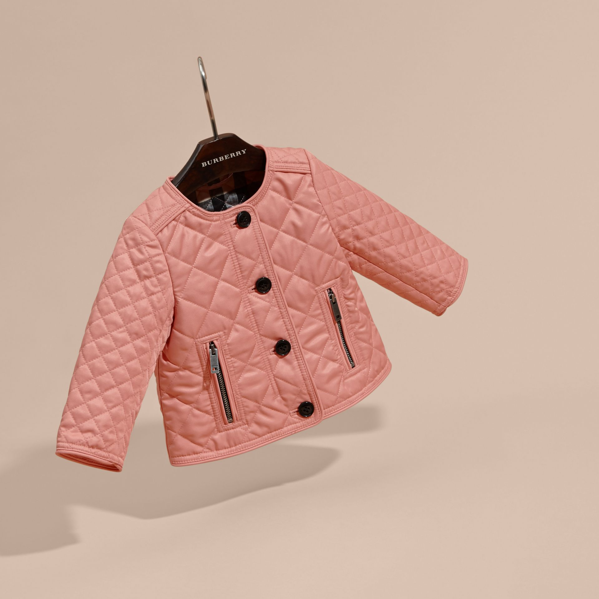 Light copper pink Collarless Diamond Quilted Jacket - gallery image 3
