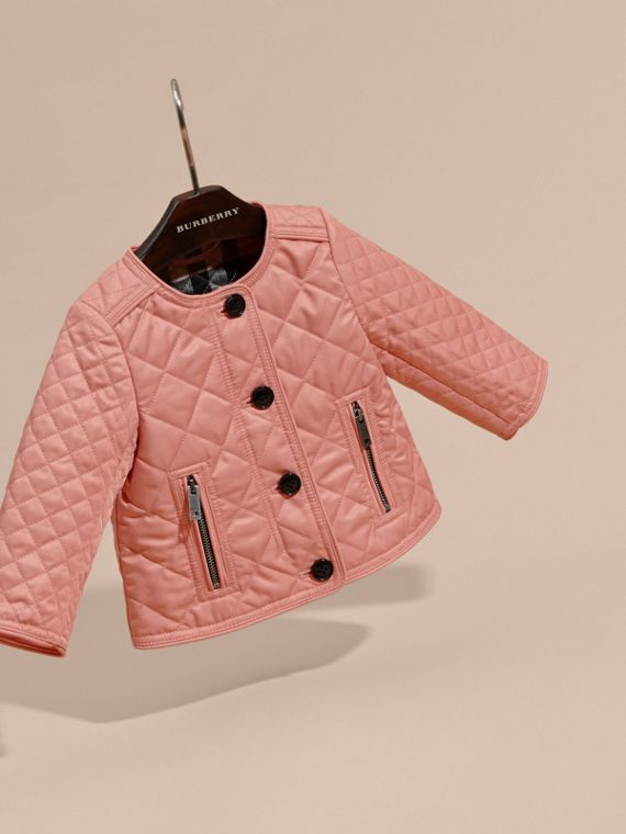 Light copper pink Collarless Diamond Quilted Jacket - cell image 2