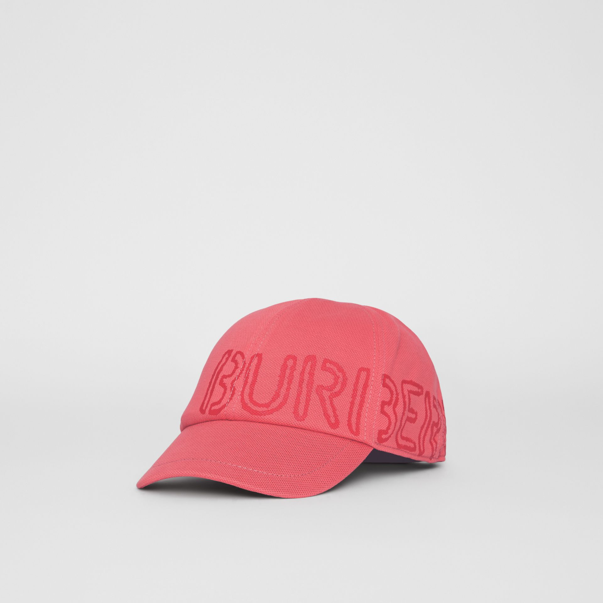 Stencil Logo Print Baseball Cap in Bright Pink/bright Red - Children | Burberry - gallery image 4