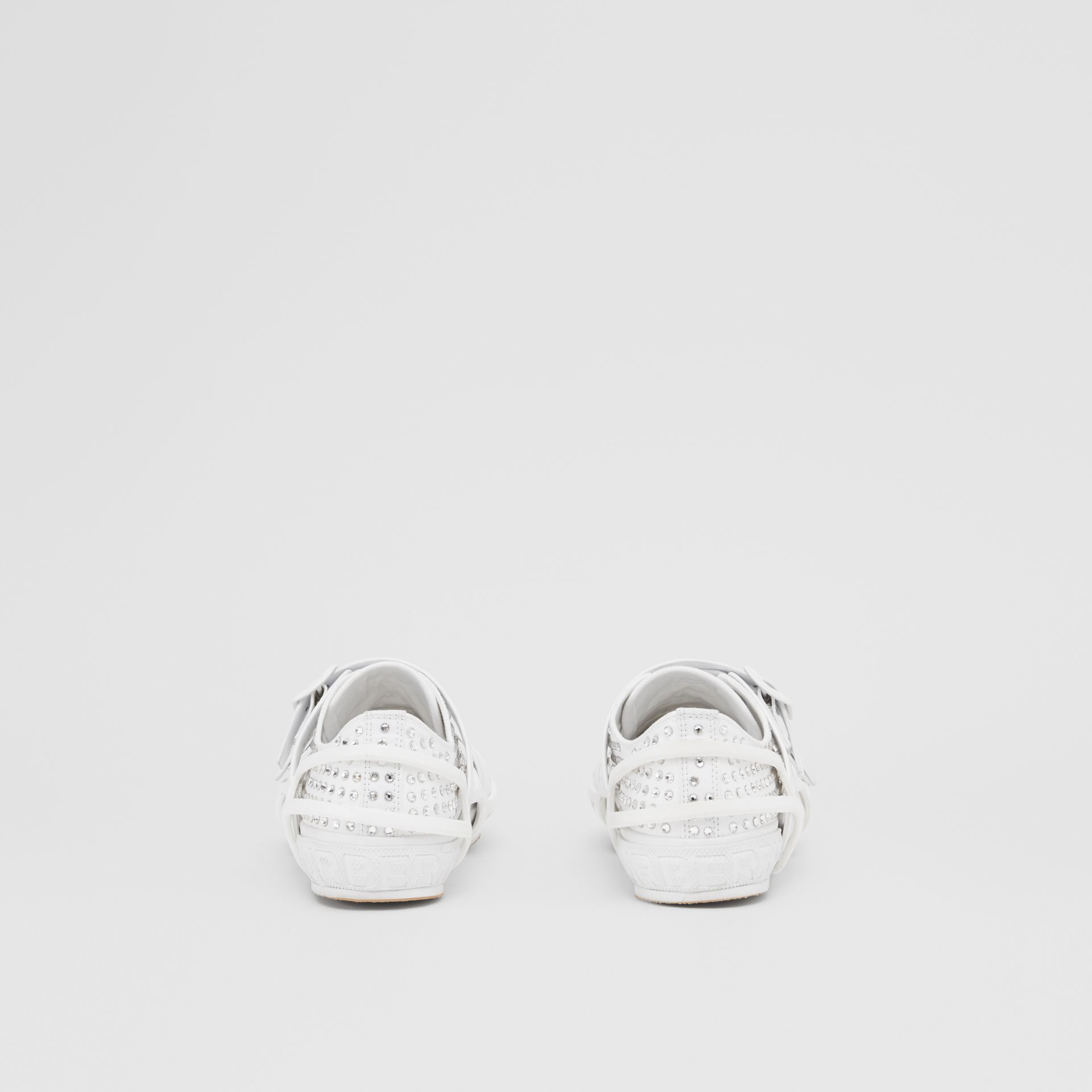 Embellished Cotton and Leather Webb Sneakers in White | Burberry United States - gallery image 3