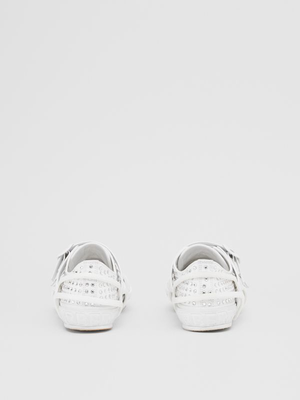 Embellished Cotton and Leather Webb Sneakers in White | Burberry United States - cell image 3