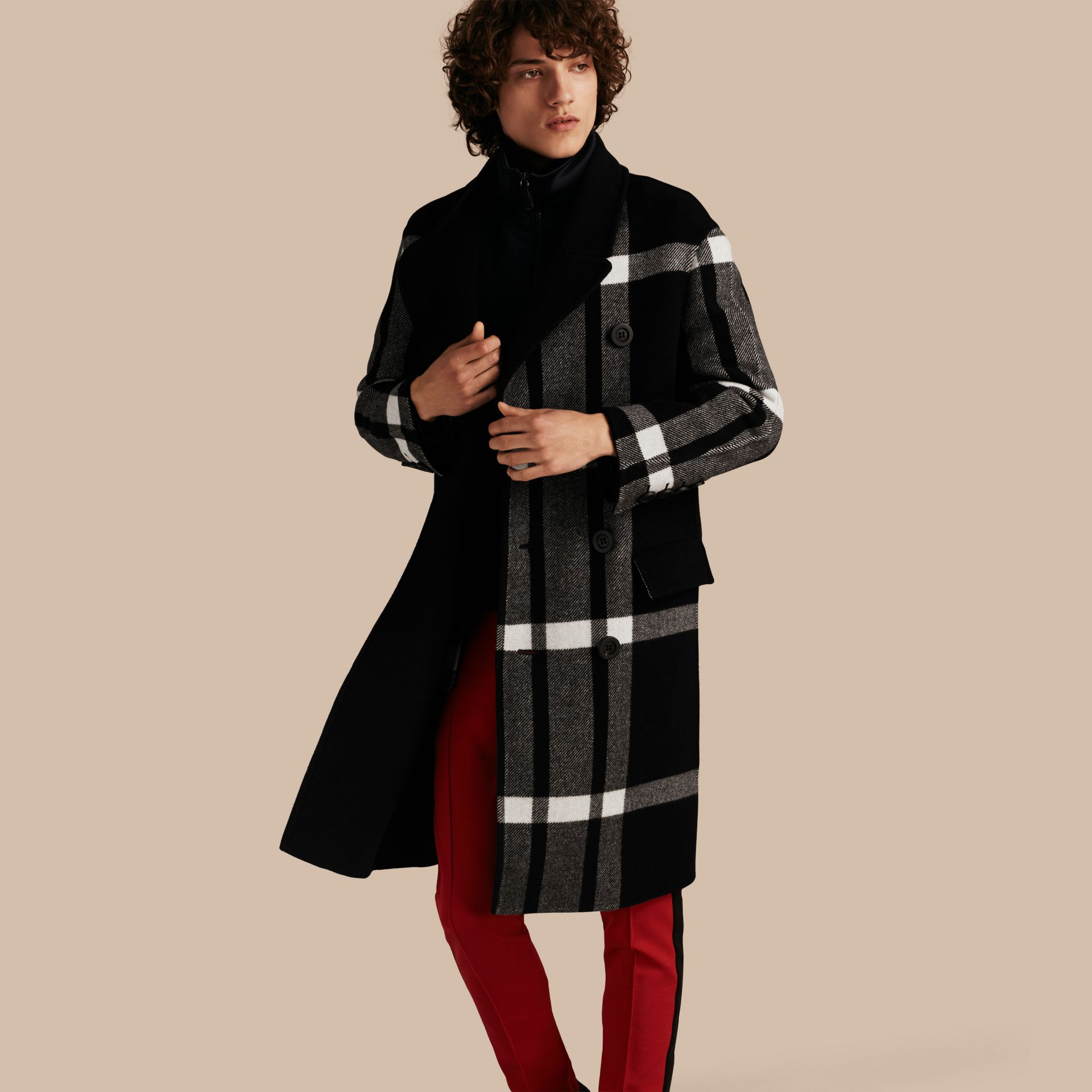 Black Double-breasted Check Wool Cashmere Coat - gallery image 1