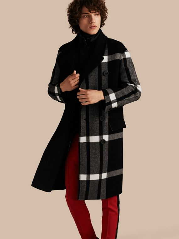 Double-breasted Check Wool Cashmere Coat