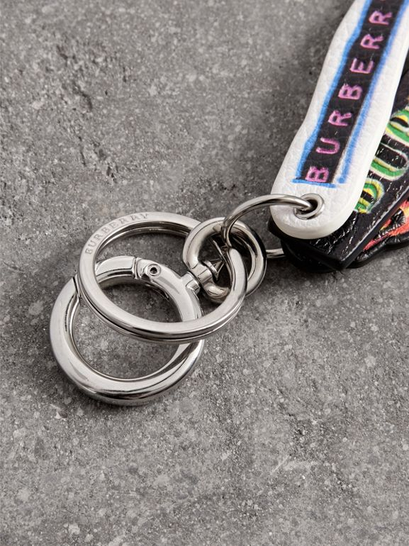 Tag Print Leather Key Ring in Multicolour | Burberry - cell image 1