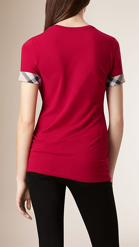 Lacquer red Check Cuff Stretch Cotton T-Shirt - Image 2