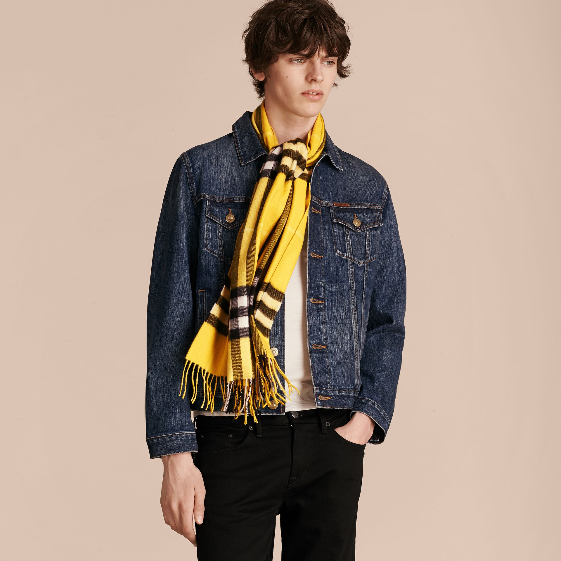 Gorse yellow The Classic Cashmere Scarf in Check  Gorse Yellow - gallery image 5