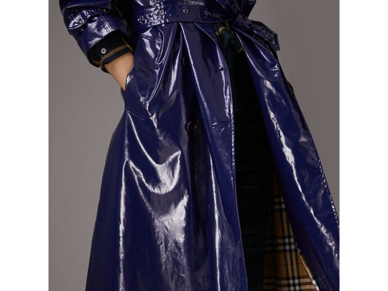 Laminated Cotton Trench Coat in Navy - Women | Burberry - cell image 1