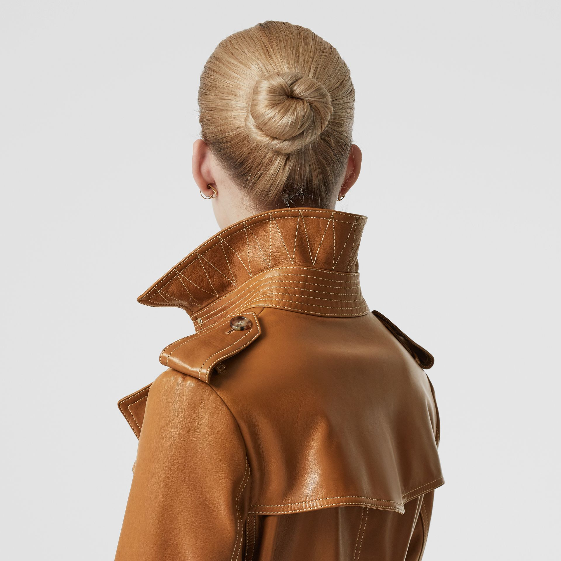 Topstitch Detail Lambskin Trench Coat in Maple - Women | Burberry - gallery image 1