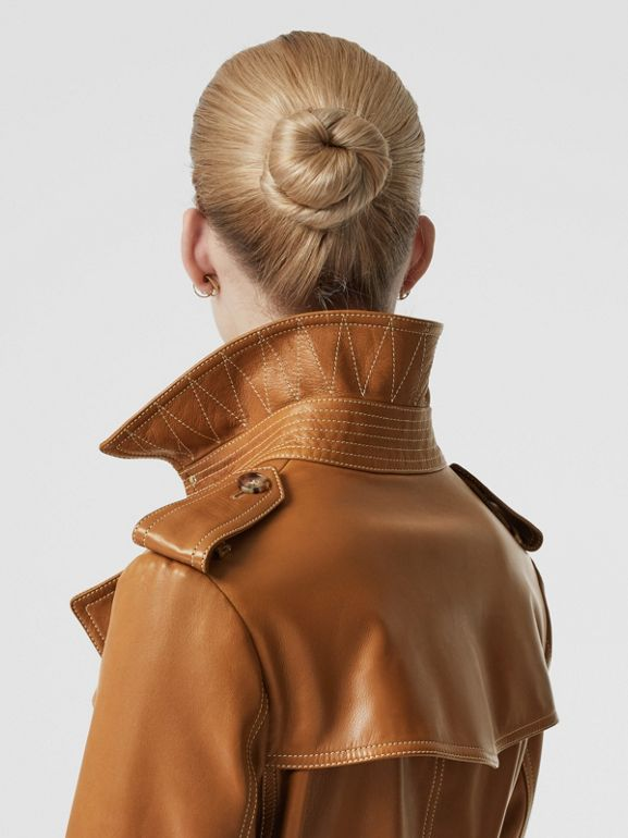 Topstitch Detail Lambskin Trench Coat in Maple - Women | Burberry United Kingdom - cell image 1