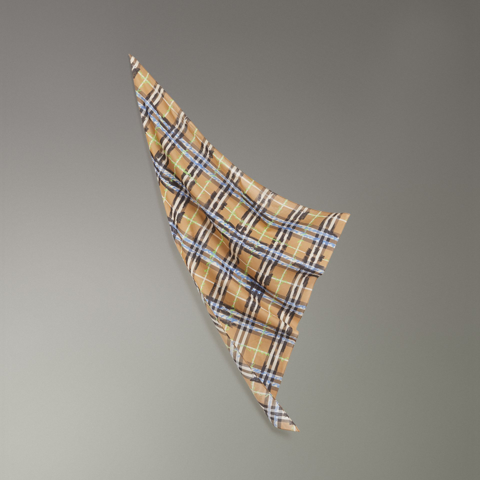 Scribble Check Cotton Scarf in Antique Yellow | Burberry - gallery image 0