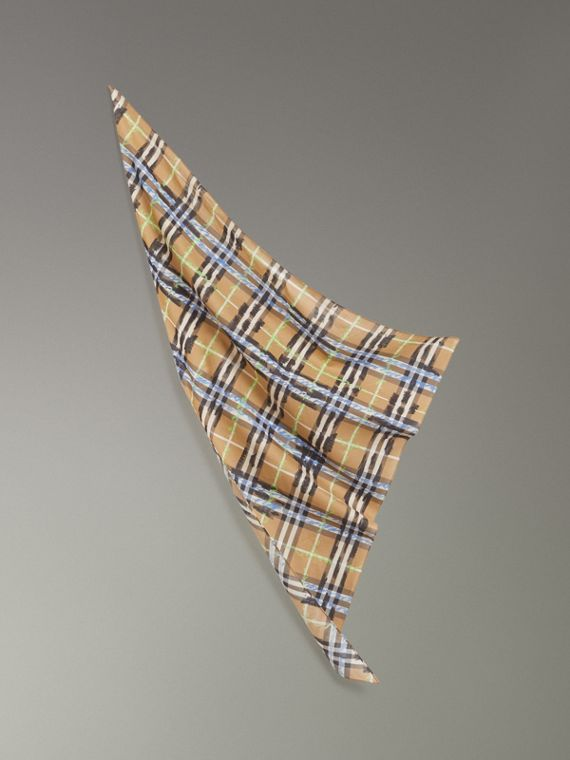 Scribble Check Cotton Scarf in Antique Yellow
