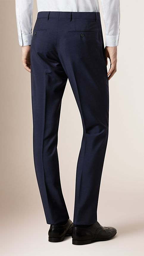 Navy Modern Fit Wool Mohair Trousers - Image 2