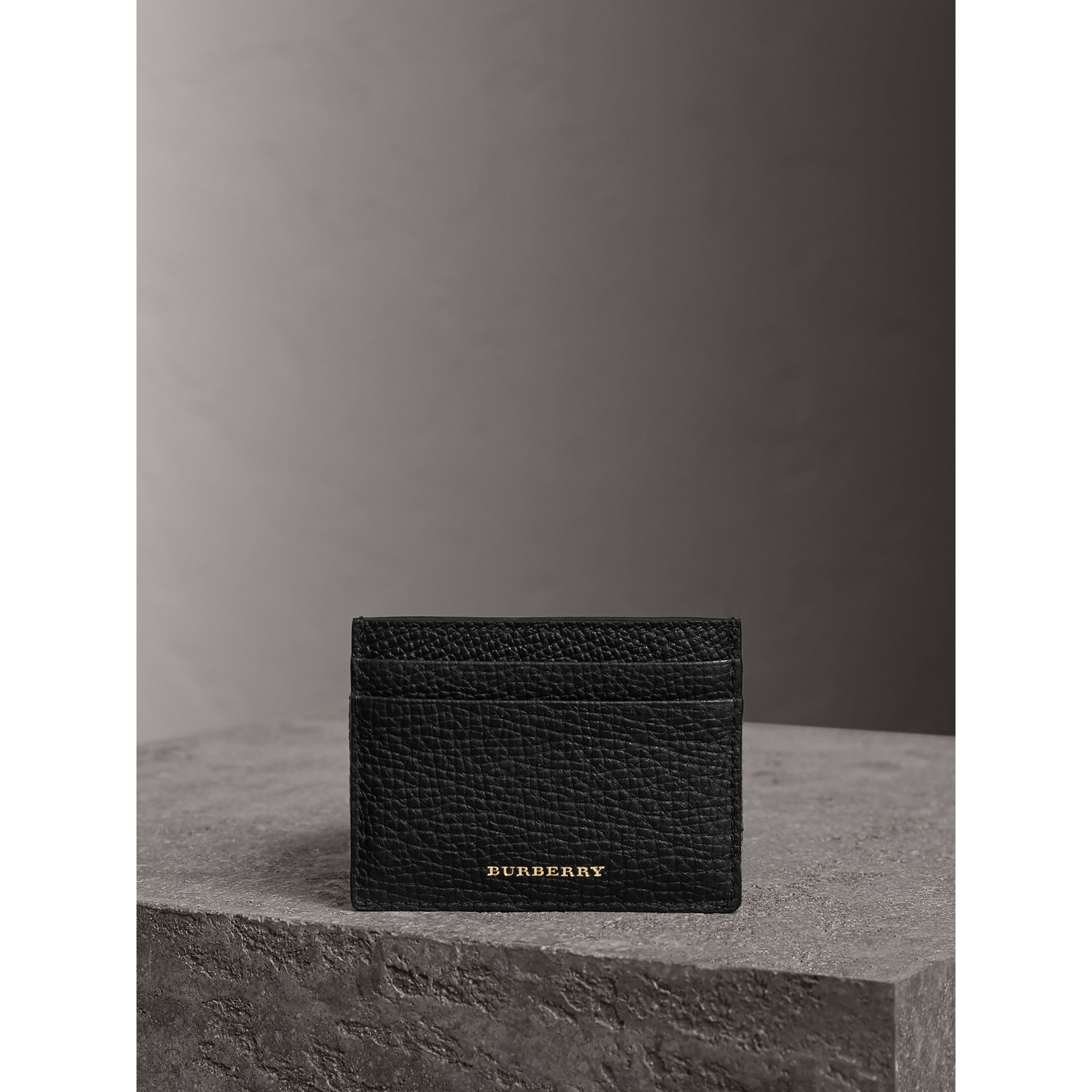 House Check and Grainy Leather Card Case in Black | Burberry - gallery image 3
