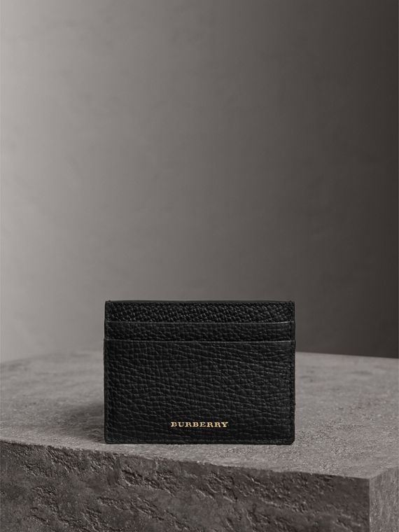 House Check and Grainy Leather Card Case in Black | Burberry Hong Kong - cell image 3