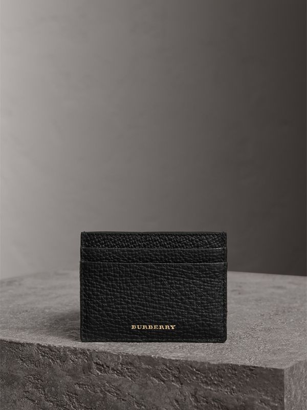 House Check and Grainy Leather Card Case in Black | Burberry - cell image 3
