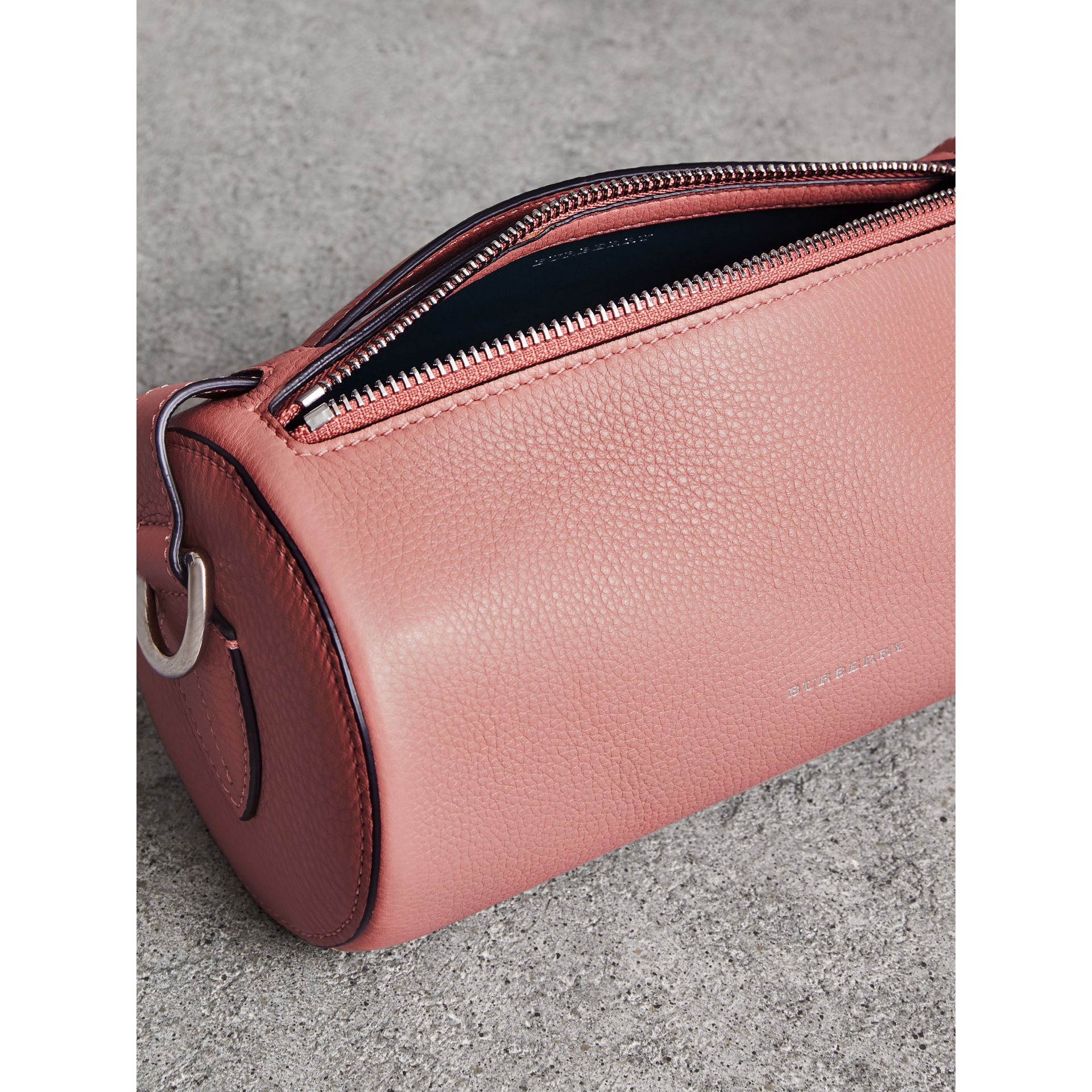 The Leather Barrel Bag in Dusty Rose - Women | Burberry - gallery image 5