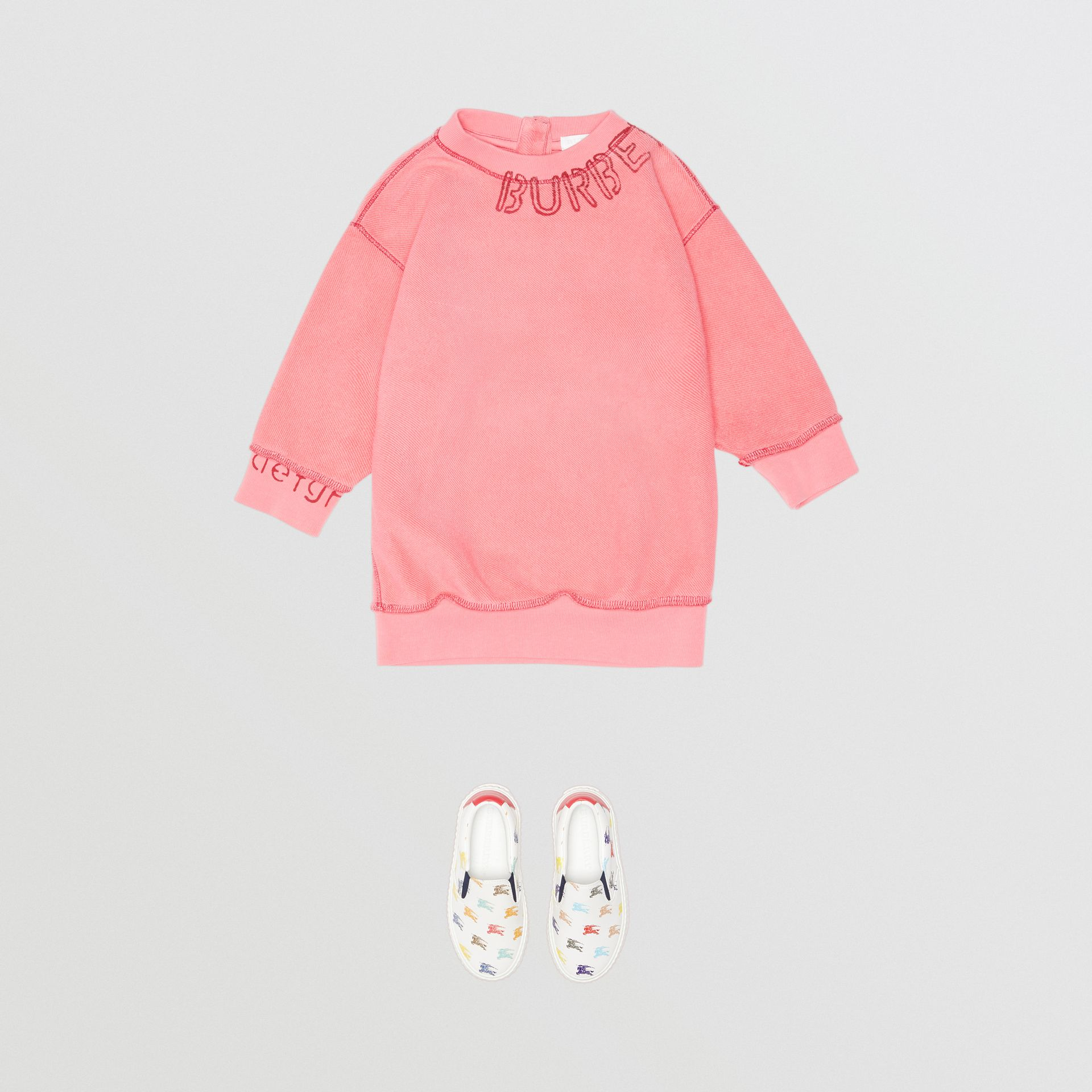 Stencil Logo Print Cotton Sweater Dress in Bright Pink - Children | Burberry Canada - gallery image 2