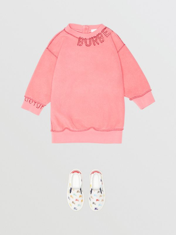 Stencil Logo Print Cotton Sweater Dress in Bright Pink - Children | Burberry Canada - cell image 2