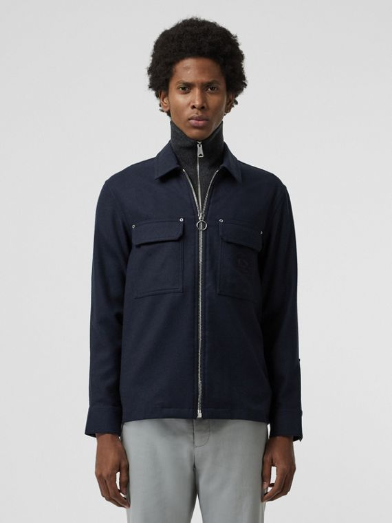Embroidered Crest Wool Overshirt in Navy
