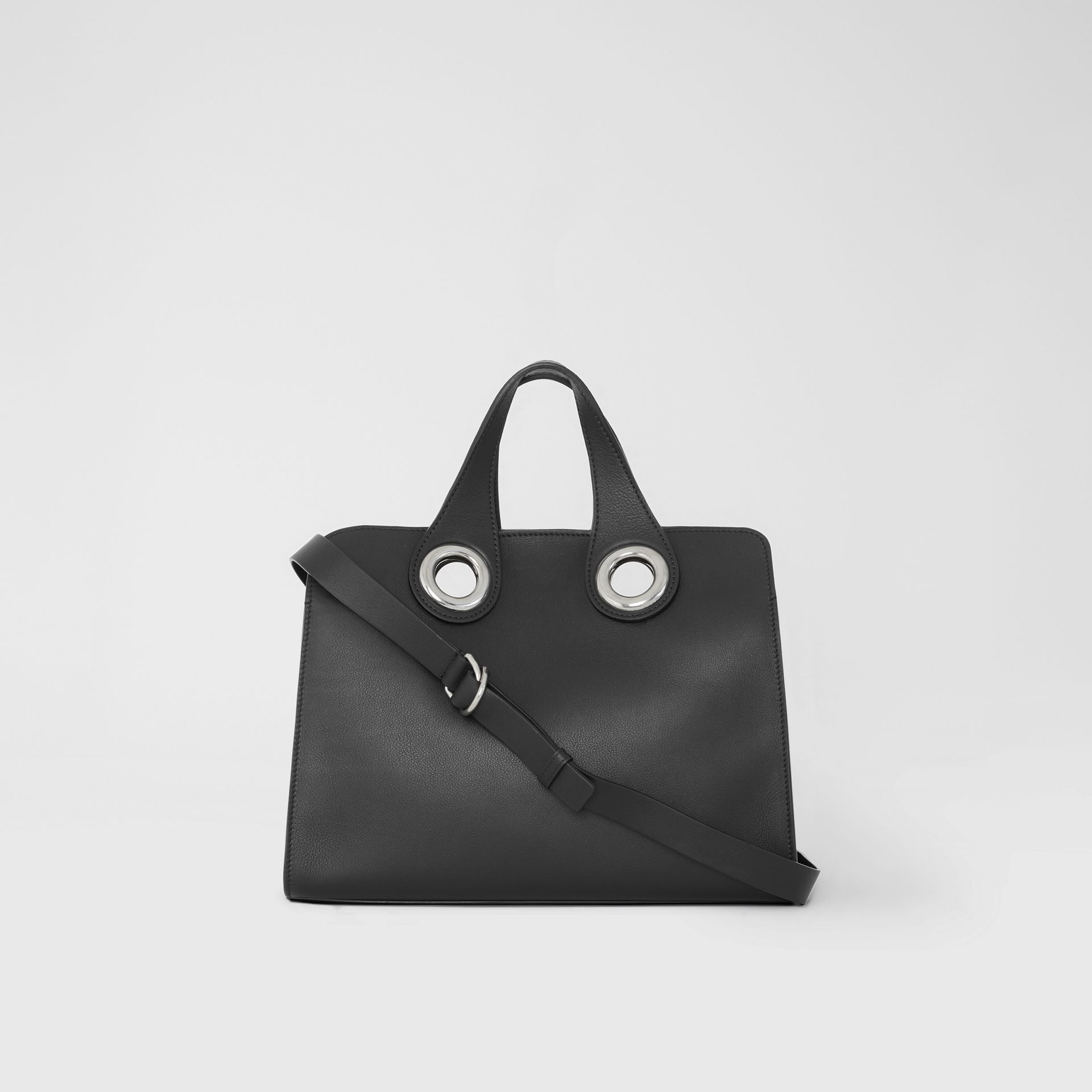 The Leather Crest Grommet Detail Tote in Black - Women | Burberry - gallery image 7