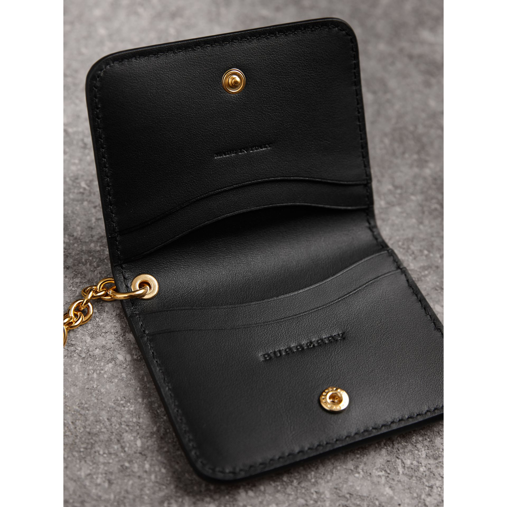 Grainy Leather ID Card Case Charm in Black - Women | Burberry - gallery image 4