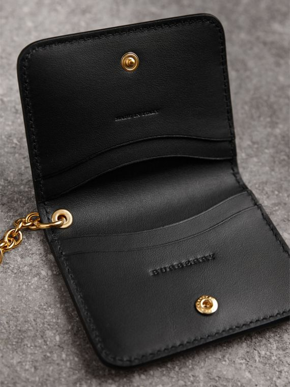 Grainy Leather ID Card Case Charm in Black - Women | Burberry - cell image 3
